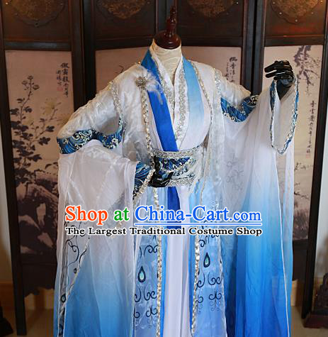 Chinese Traditional Ancient Swordsman Blue Costumes for Men