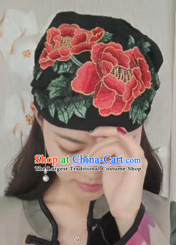 Chinese Traditional Embroidered Red Peony Headscarf Yunnan Dai Minority Hat for Women
