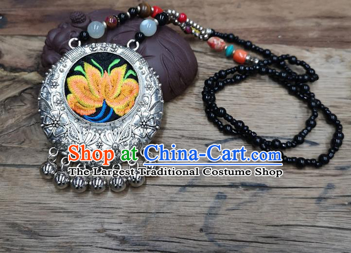 Chinese Traditional Jewelry Accessories Yunnan Miao Minority Embroidered Yellow Lotus Necklace for Women