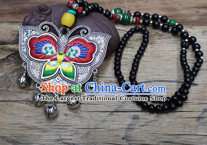 Chinese Traditional Jewelry Accessories Yunnan Miao Minority Embroidered Red Butterfly Necklace for Women