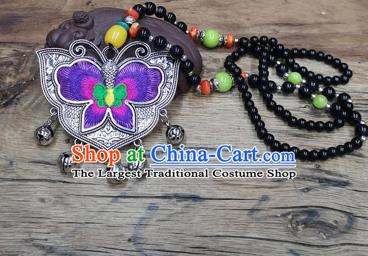 Chinese Traditional Jewelry Accessories Yunnan Miao Minority Embroidered Purple Butterfly Necklace for Women