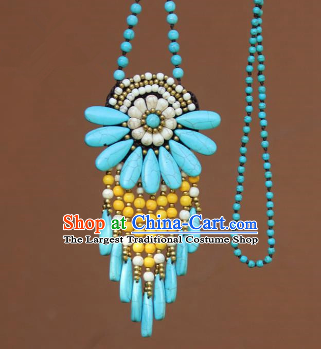 Chinese Traditional Jewelry Accessories Yunnan Minority Blue Turquoise Necklace for Women