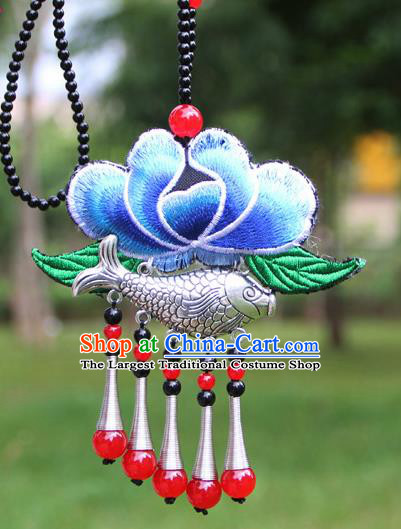 Chinese Traditional Accessories Yunnan Minority Embroidered Blue Lotus Sliver Fish Necklace for Women