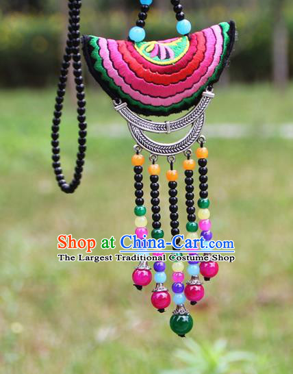 Chinese Traditional Accessories Yunnan Minority Embroidered Beads Tassel Necklace for Women
