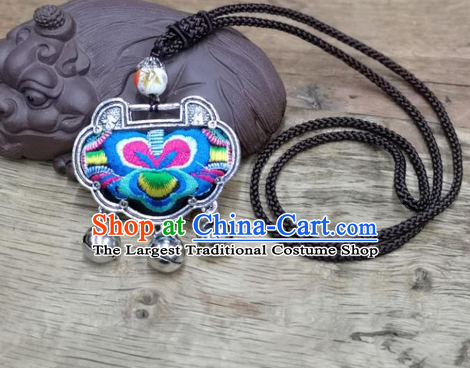 Chinese Traditional Accessories Yunnan Minority Necklace Embroidered Blue Butterfly Longevity Lock for Women