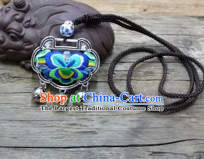 Chinese Traditional Accessories Yunnan Minority Necklace Embroidered Royalblue Butterfly Longevity Lock for Women