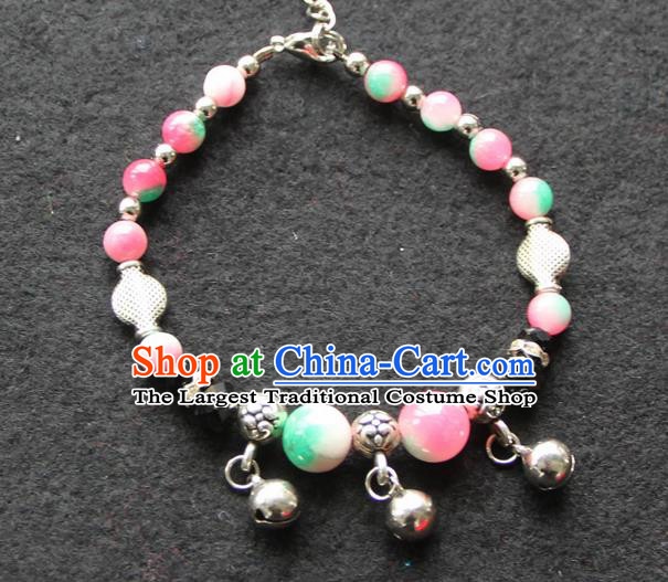 Chinese Traditional Pink Beads Bracelets Yunnan National Minority Accessories for Women