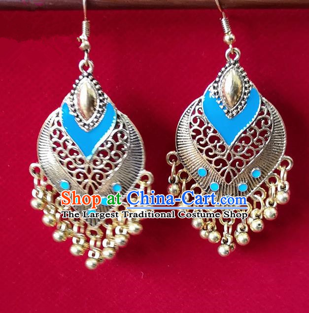 Chinese Traditional Bells Tassel Earrings Yunnan National Minority Light Blue Inlay Ear Accessories for Women