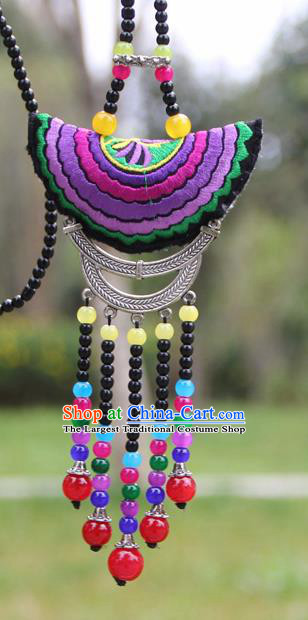 Chinese Traditional Accessories Yunnan Minority Purple Embroidered Beads Tassel Necklace for Women