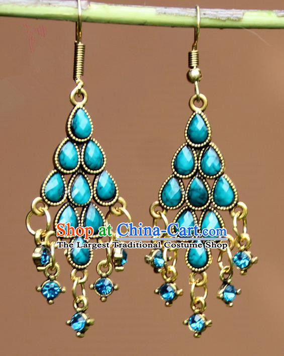 Chinese Traditional Blue Crystal Earrings Yunnan National Minority Ear Accessories for Women