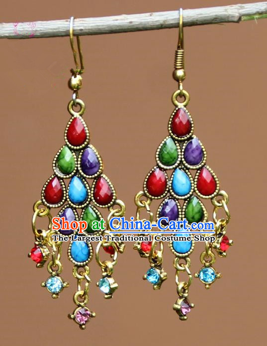 Chinese Traditional Colorful Crystal Earrings Yunnan National Minority Ear Accessories for Women