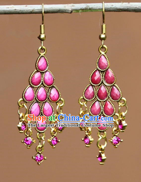 Chinese Traditional Pink Crystal Earrings Yunnan National Minority Ear Accessories for Women