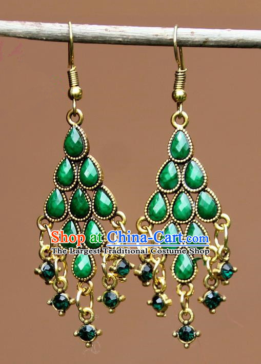 Chinese Traditional Green Crystal Earrings Yunnan National Minority Ear Accessories for Women