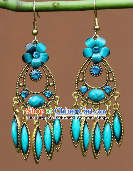 Chinese Traditional Blue Flower Earrings Yunnan National Minority Ear Accessories for Women