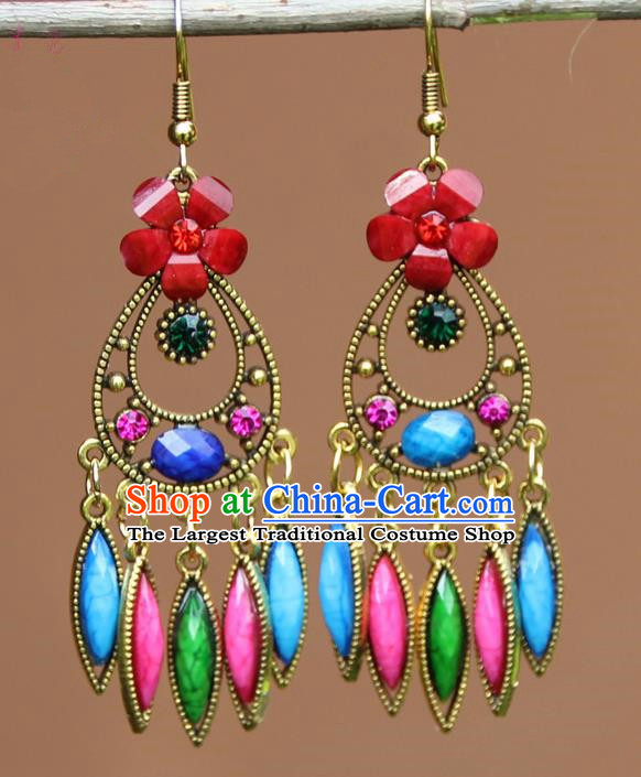 Chinese Traditional Colorful Flower Earrings Yunnan National Minority Ear Accessories for Women