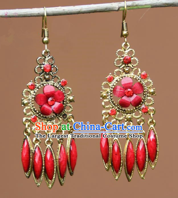 Chinese Traditional Red Flower Tassel Earrings Yunnan National Minority Ear Accessories for Women
