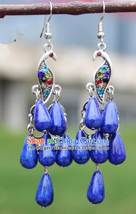 Chinese Traditional Royalblue Peacock Tassel Earrings Yunnan National Minority Ear Accessories for Women