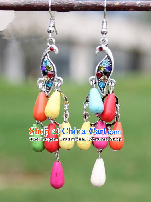 Chinese Traditional Colorful Peacock Tassel Earrings Yunnan National Minority Ear Accessories for Women