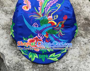 Chinese Traditional Embroidered Phoenix Peony Yunnan Dai Minority Royalblue Cap for Women