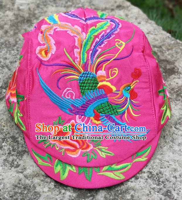 Chinese Traditional Embroidered Phoenix Peony Yunnan Dai Minority Pink Cap for Women
