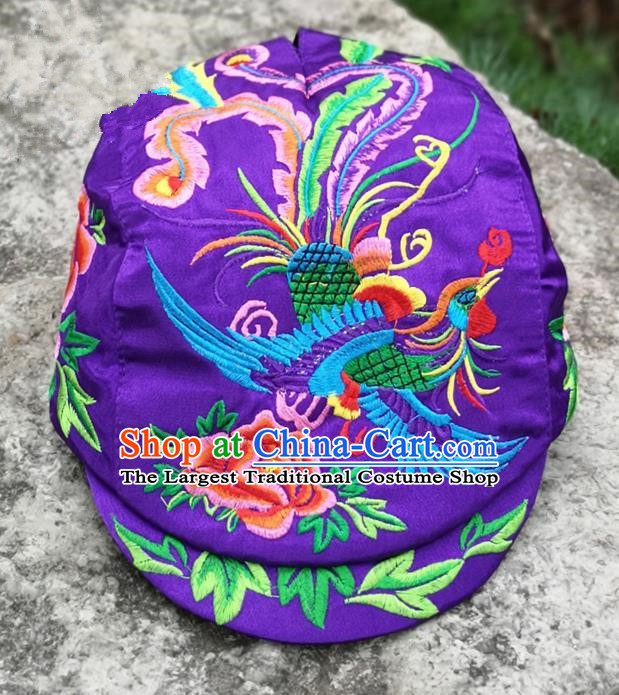 Chinese Traditional Embroidered Phoenix Peony Yunnan Dai Minority Purple Cap for Women