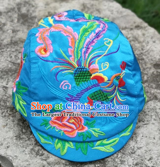 Chinese Traditional Embroidered Phoenix Peony Yunnan Dai Minority Blue Cap for Women