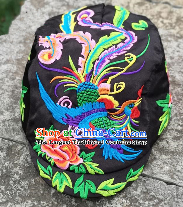 Chinese Traditional Embroidered Phoenix Peony Yunnan Dai Minority Black Cap for Women