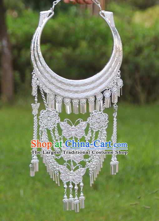 Chinese Traditional Ethnic Bride Accessories Yunnan Minority Butterfly Tassel Necklace for Women