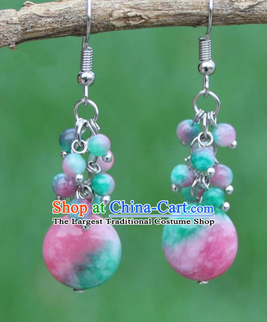 Chinese Traditional Glass Earrings Yunnan National Minority Ear Accessories for Women