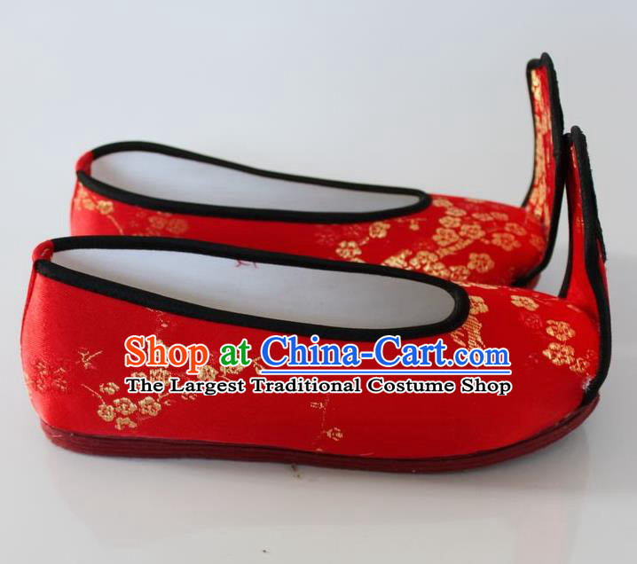 Chinese Traditional Wedding Hanfu Shoes Red Satin Shoes Ancient Princess Embroidered Shoes for Women