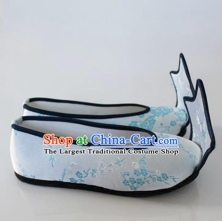 Chinese Traditional Wedding Hanfu Shoes White Satin Shoes Ancient Princess Embroidered Shoes for Women