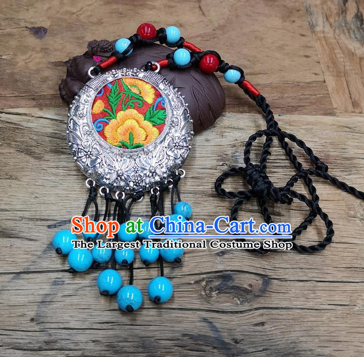 Chinese Traditional Jewelry Accessories Yunnan Minority Blue Beads Tassel Embroidered Necklace for Women