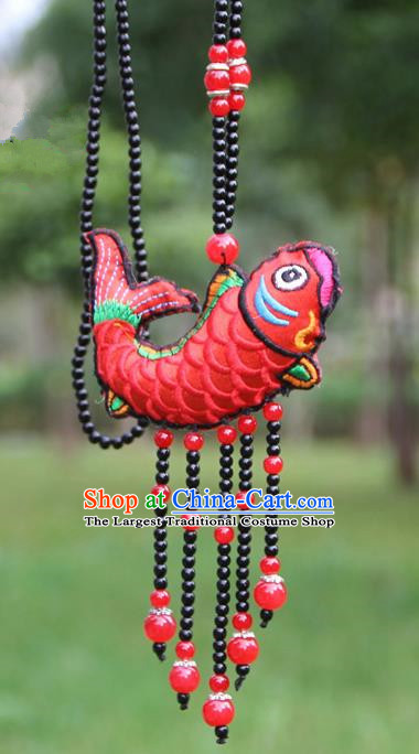 Chinese Traditional Jewelry Accessories Yunnan Minority Embroidered Red Fish Necklace for Women