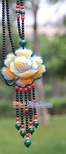 Chinese Traditional Jewelry Accessories Yunnan Minority Embroidered Blue Peony Necklace for Women