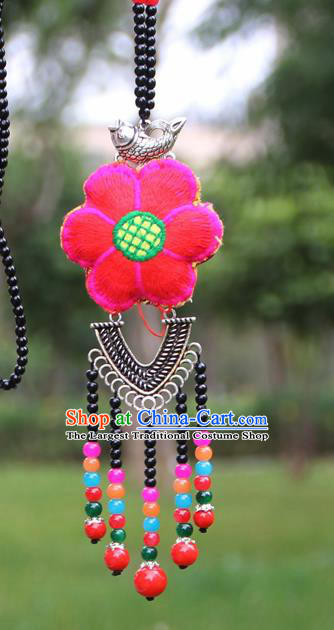 Chinese Traditional Jewelry Accessories Yunnan Minority Embroidered Sliver Necklace for Women