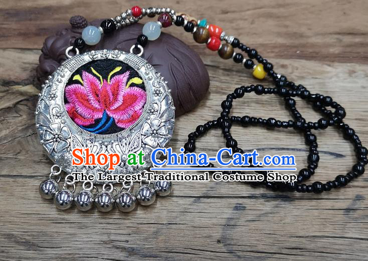 Chinese Traditional Jewelry Accessories Yunnan Miao Minority Embroidered Pink Lotus Necklace for Women