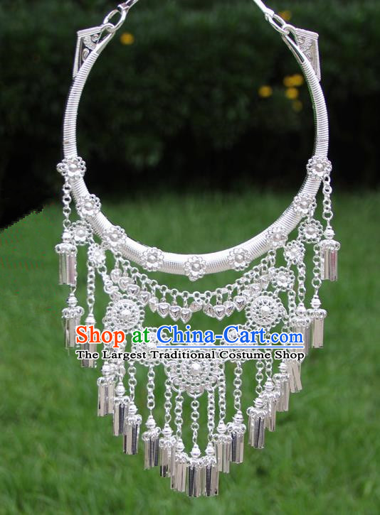 Chinese Traditional Ethnic Accessories Yunnan Miao Minority Sliver Necklace for Women