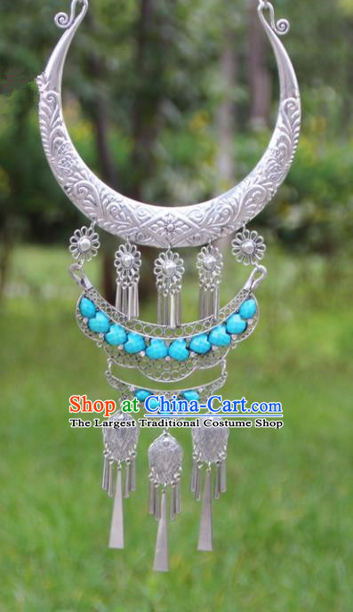 Chinese Traditional Ethnic Accessories Yunnan Miao Minority Exaggerated Blue Necklace for Women