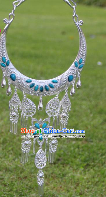 Chinese Traditional Ethnic Accessories Yunnan Miao Minority Blue Sliver Necklace for Women