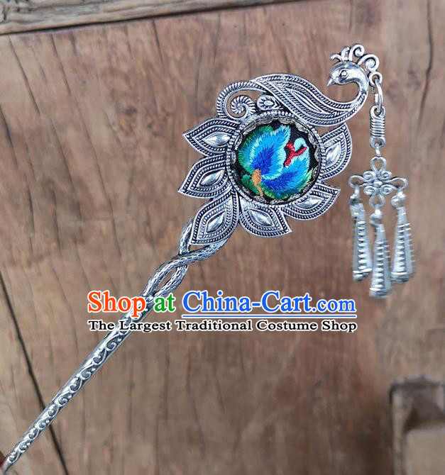 Chinese Traditional Ethnic Hair Accessories Ancient Blue Embroidered Peacock Hairpins for Women