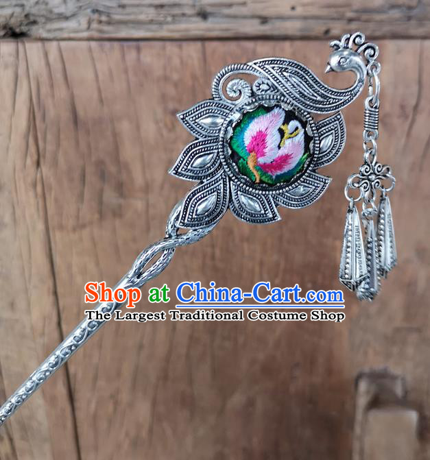 Chinese Traditional Ethnic Hair Accessories Ancient Pink Embroidered Peacock Hairpins for Women