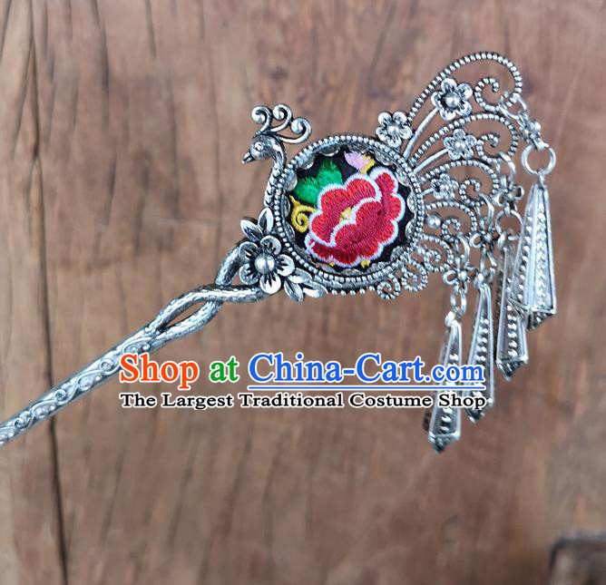 Chinese Traditional Ethnic Hair Accessories Ancient Embroidered Red Peony Peacock Hairpins for Women