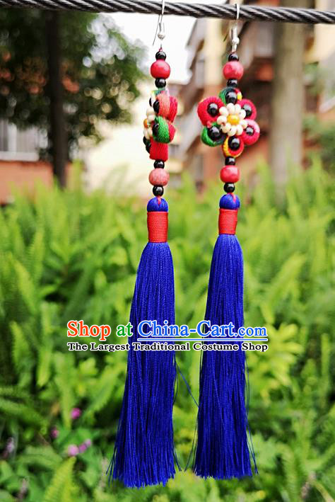 Chinese Traditional Ethnic Earrings Yunnan National Royalblue Tassel Ear Accessories for Women