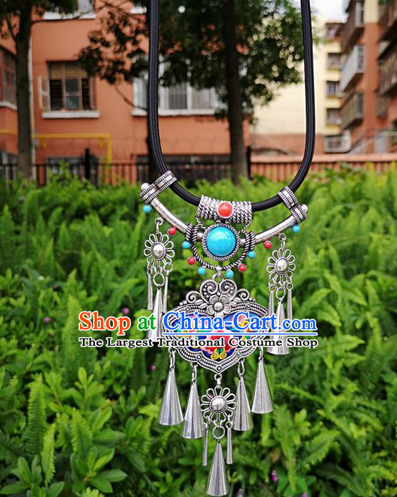 Chinese Traditional Miao Minority Embroidered Blue Necklace Ethnic Tassel Accessories for Women