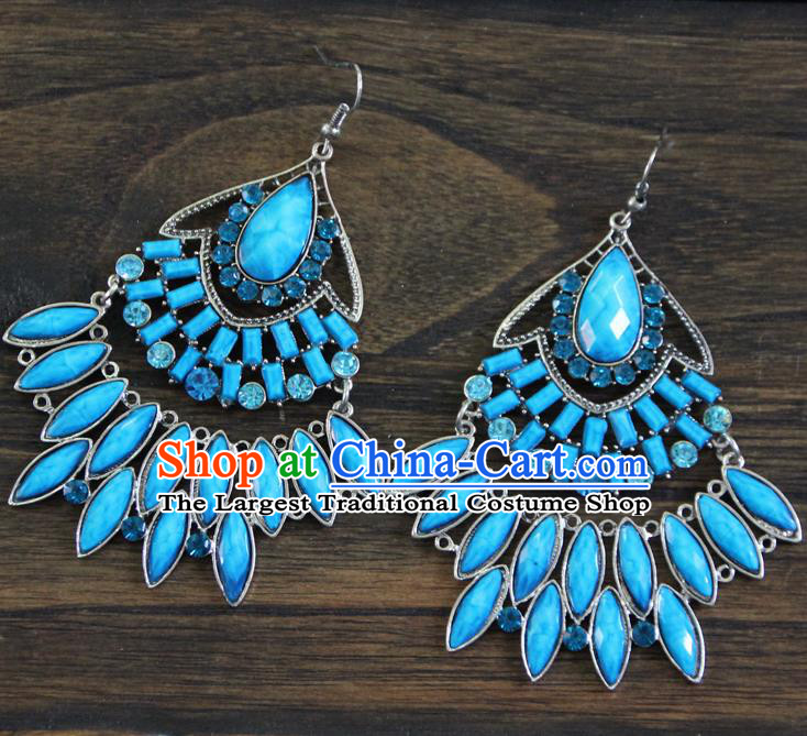 Chinese Traditional Ethnic Blue Earrings Yunnan National Ear Accessories for Women