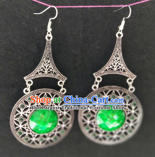 Chinese Traditional Ethnic Earrings Yunnan National Green Ear Accessories for Women