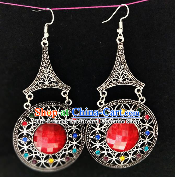 Chinese Traditional Ethnic Earrings Yunnan National Red Ear Accessories for Women