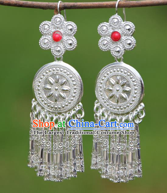 Chinese Traditional Ethnic Tassel Earrings Yunnan National Minority Ear Accessories for Women