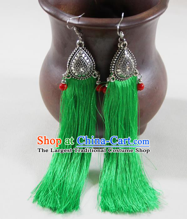 Chinese Traditional Ethnic Green Tassel Earrings Yunnan National Ear Accessories for Women