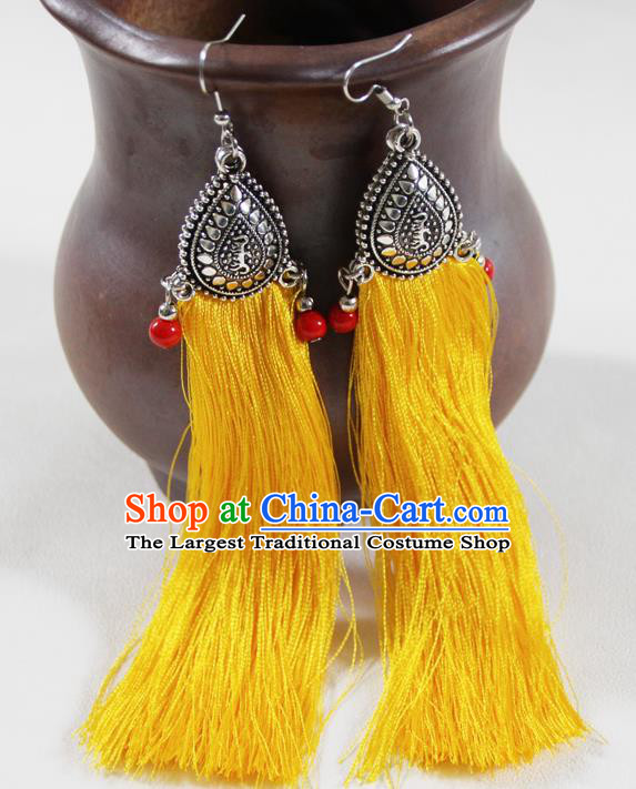 Chinese Traditional Ethnic Yellow Tassel Earrings Yunnan National Ear Accessories for Women